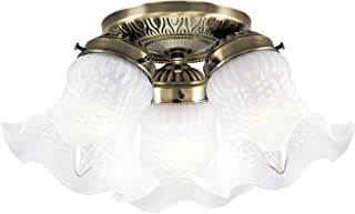 Westinghouse Lighting 6668600 Three-Light Flush-Mount Interior Ceiling Fixture, Antique Brass Finish with Frosted Ruffled Edge Glass