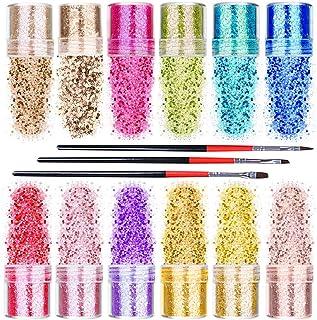mreechan flash lentejuelas de polvo,conjunto de polvo de uñas flash,flash polvo decorativo,tiene 12 colores,viene con cepillo decorativo,utilizar para el maquillaje,embellecer las uñas, sombra etc