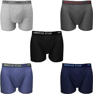 Falari 5-Pack Men's Boxer Briefs Underwear 100% Cotton Comfort