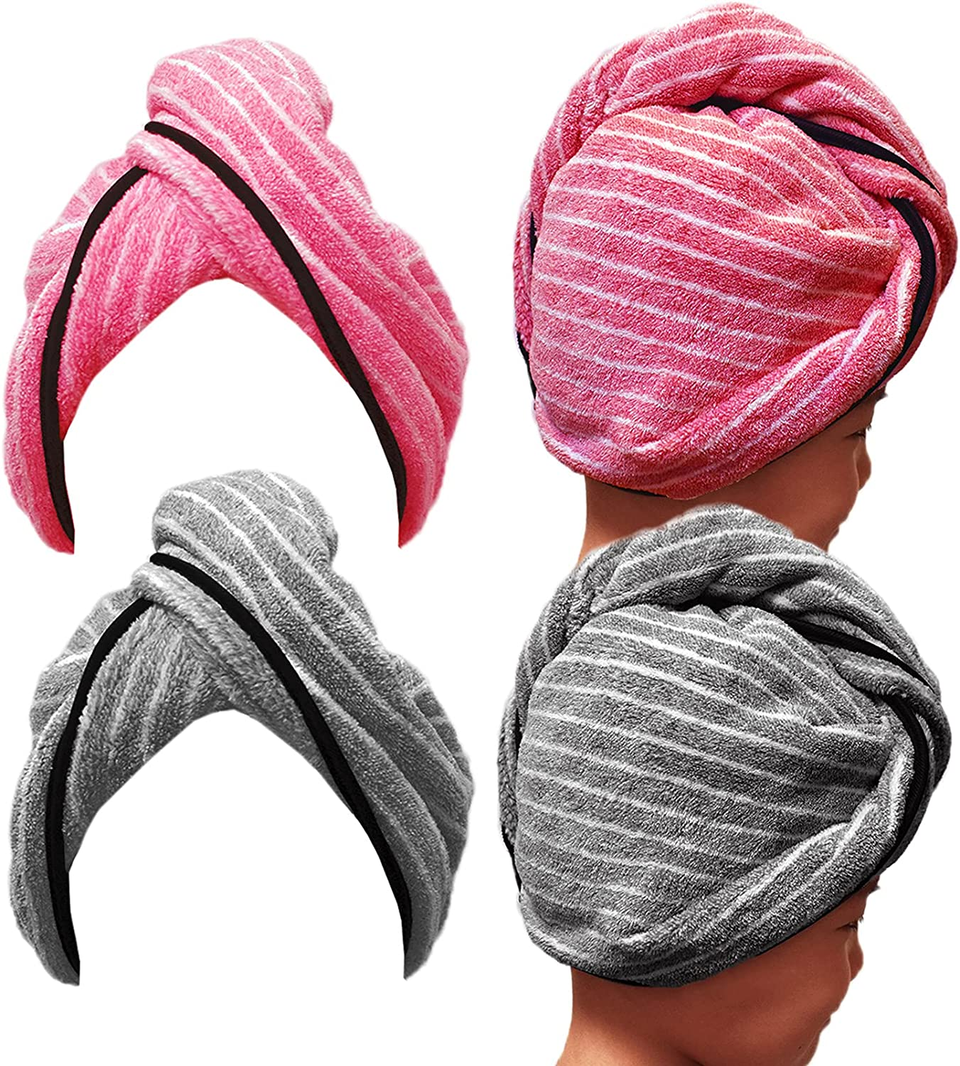 Premium Microfiber Hair Towel Wrap for Ranking integrated 1st Topics on TV place x25.8 Women- 10.5 2 Pack