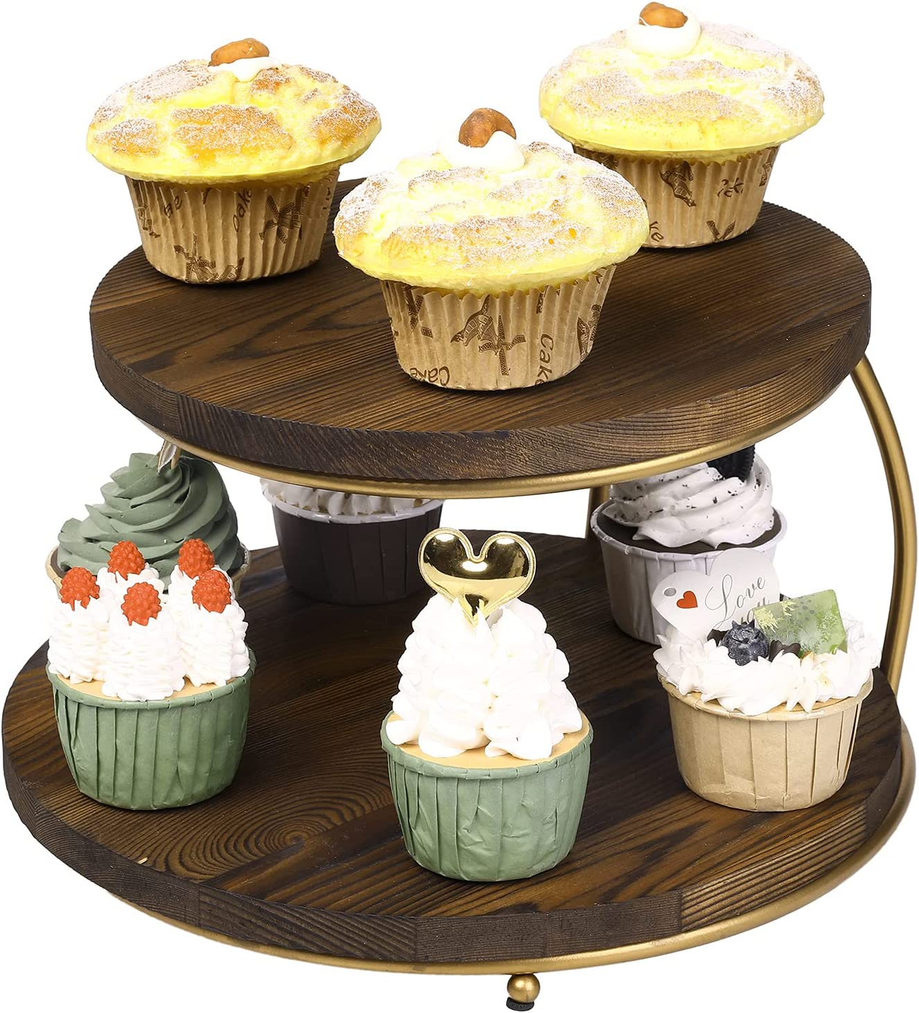 specialty shop 67% OFF of fixed price MyGift 2-Tier Pizza Rack Cupcake Solid Display Round Stand with
