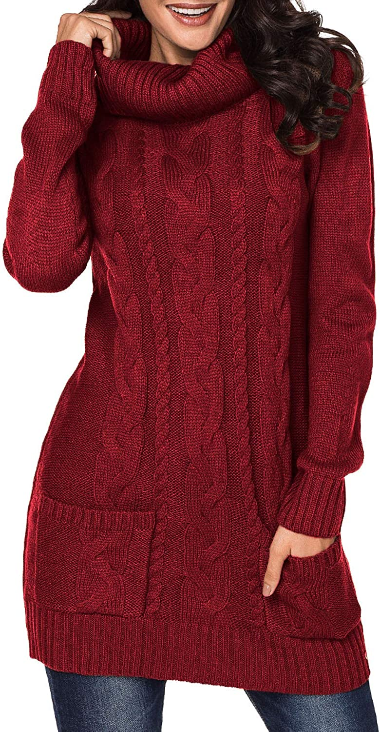 BLENCOT Womens Turtleneck Long Sleeve Elasticity Chunky Cable Knit Pullover Sweaters Jumper