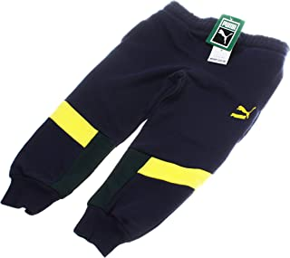 PUMA Boy's French Terry Colorblock Sweatpants; Navy/Yellow/Green (4)