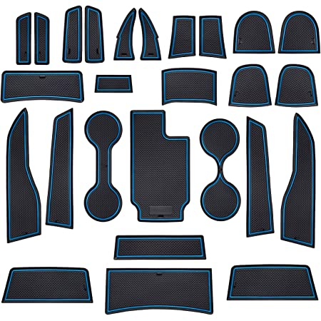 Door Pocket Console JDMCAR Custom Liner Accessories Compatible with Colorado and Canyon 2015-2021 and Cup Holder Rubber Mats 26-PC Set Crew Cab, Blue Trim
