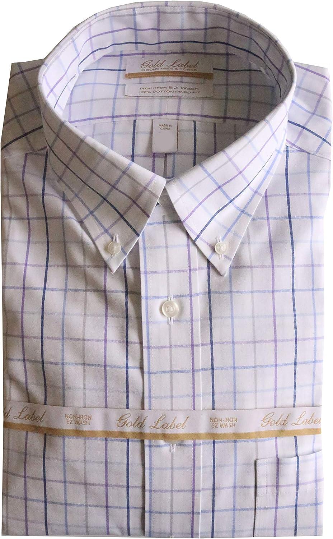 Gold Label Roundtree & Yorke Non-Iron Regular Button Down Check Dress Shirt F85DG023 White Multi