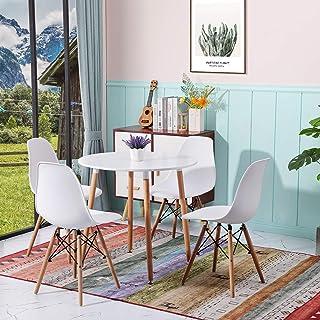 H.J WeDoo Ensemble Table et Lot de 4 Chaises de Salle à Manger pour Cuisine, Salle à Manger, Salon, Blanc, 80 x 80 x 75cm
