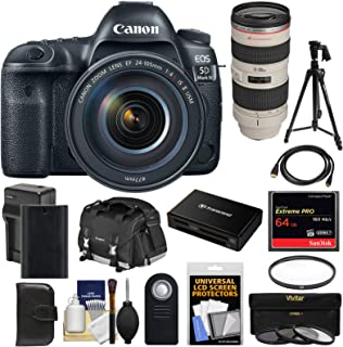 Canon EOS 5D Mark IV 4K Wi-Fi Digital SLR Camera & EF 24-105mm f/4L is II USM with 70-200mm f/2.8L Lens + 64GB Card + Battery & Charger + Case + Filters + Tripod Kit