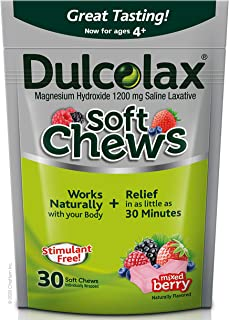 Dulcolax Soft Chews Saline Laxative Mixed Berry (30ct) Gentle Constipation Relief, Magnesium Hydroxide 1200mg