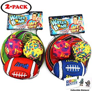 Water Bomb Wet Set Water Splash Balls Water Football Water Frisbee Pool Toy Soakers Outdoor Sports with 2 GosuToys Stickers