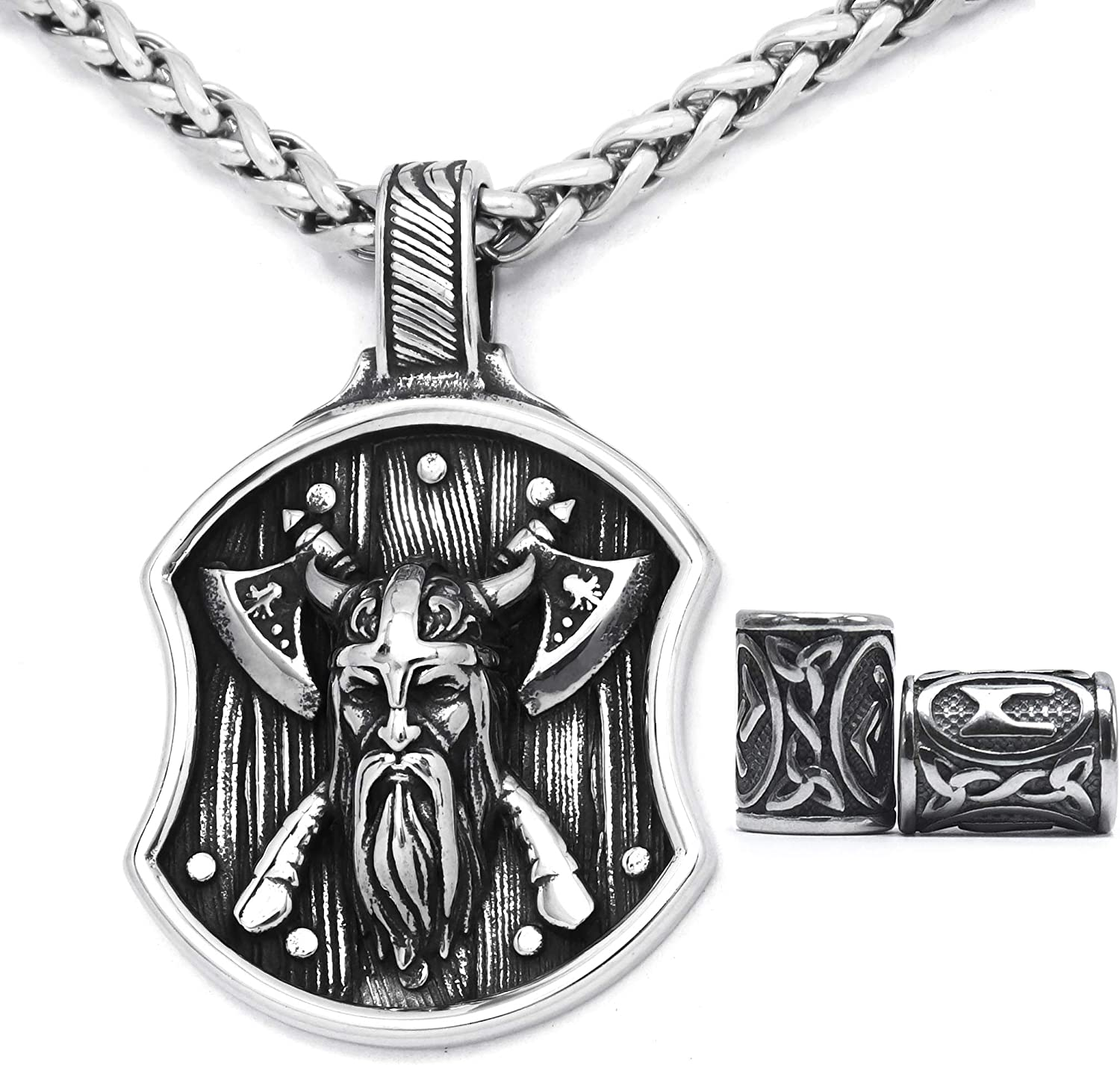 Gungneer Scandinavian Shield Odin Valknut Sword Viking Gift for Men Stainless Steel Pagan Jewelry Ancient Great Amulet Protection