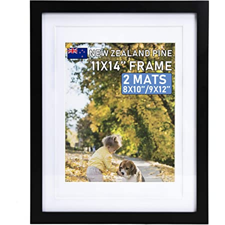 """Beyond Your Thoughts 11""""X14"""" with Matted for 8""""X10"""" or 9""""x12"""" Real Wood + Real Glass (Hang/Stand) Black Picture Photo Frame for Wall and Table Top-Mounting Hardware Included(1 Pack)"""