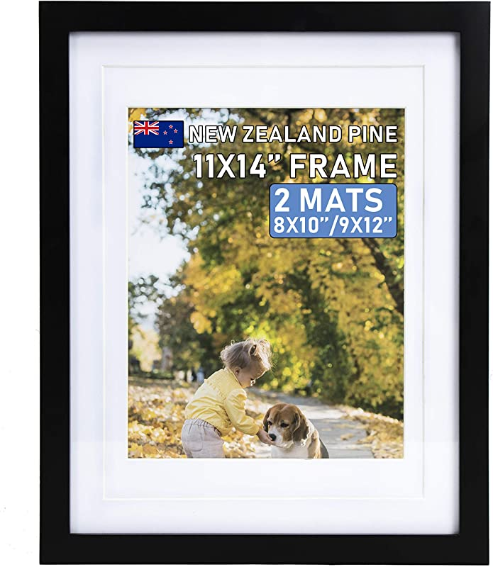 Beyond Your Thoughts Wood Real Glass Hang Stand 11X14 Black Picture Photo Frame With Matted For 8X10 Or 9x12 Photo For Wall And Table Top Mounting Hardware Included 1 Pack