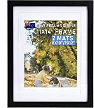 Beyond Your Thoughts Wood + Real Glass (Hang/Stand) 11X14 Black Picture Photo Frame with Matted for 8X10 or 9x12 Photo for Wall and Table Top-Mounting Hardware Included(1 Pack)