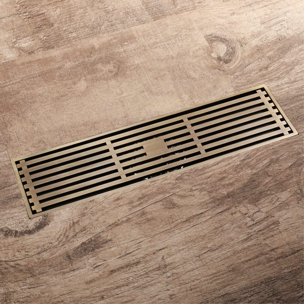 Linear Shower Drain Store 12 Inch with Grate Max 81% OFF Brass Antique R Removable