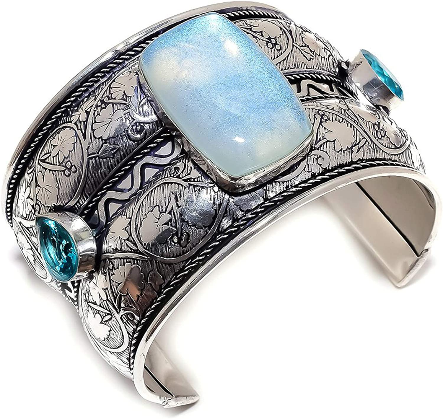 Milky Opal Apatite Gemstone 925 Silver A Great interest Bracelet Sterling 2021 autumn and winter new Cuff