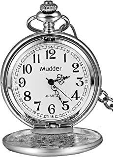 Mudder Classic Smooth Vintage Steel Mens Pocket Watch Xmas