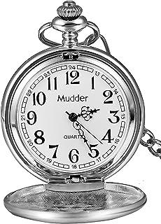 Reloj de Bolsillo clásico de Acero Liso Vintage para Hombre