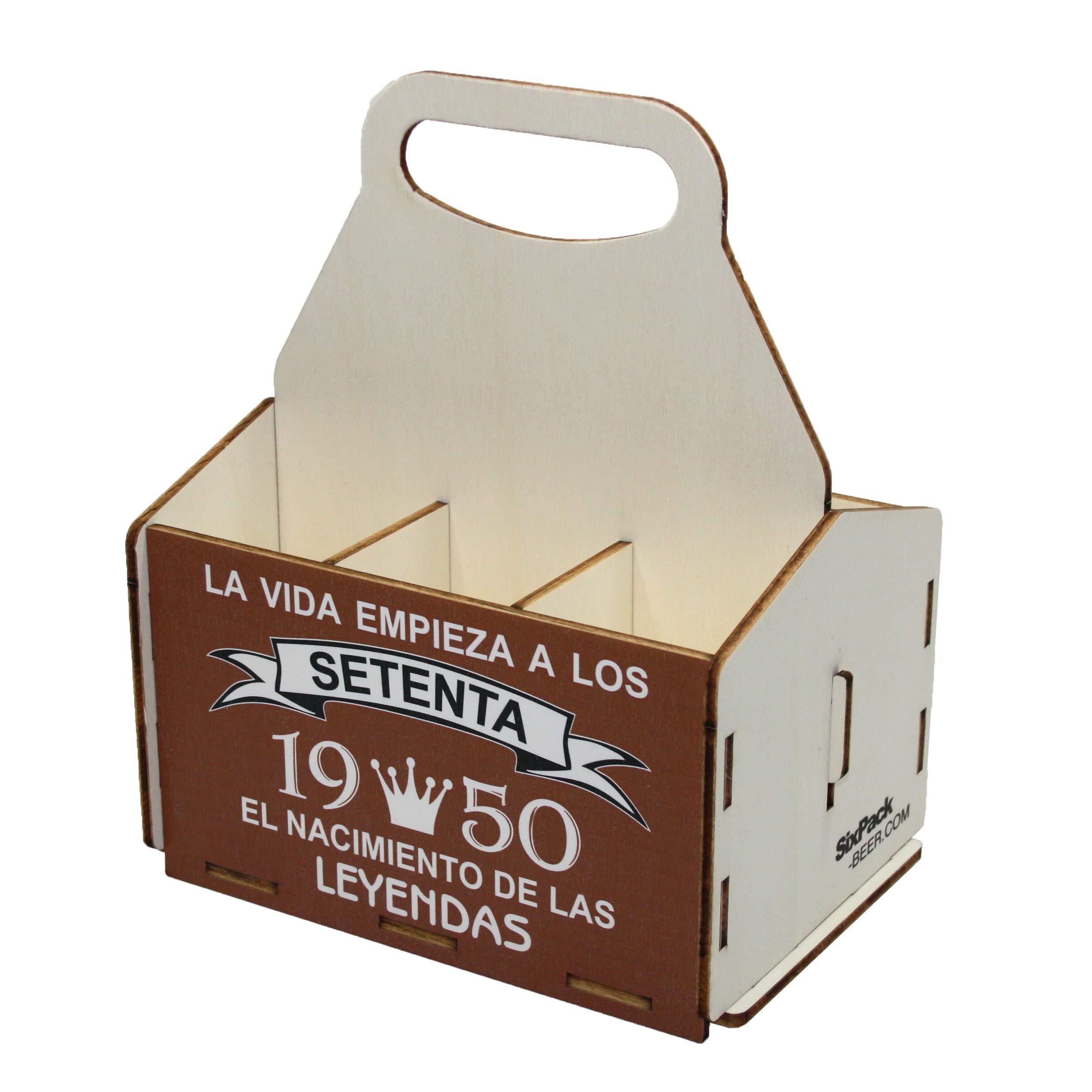 Portacervezas de madera, paquete de seis cervezas, caja portadora ...