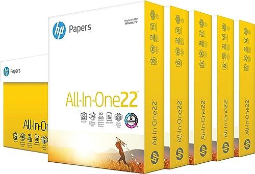 HP Printer Paper 8.5x11 AllInOne 22 lb 5 Ream Case 2500 Sheets 96 Bright Made in USA FSC Certified Copy Paper HP Comp...