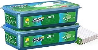 Swiffer Lingettes Humides, 48 Lingettes Nettoyantes, pour Balai Swiffer Attrape-Poussière, Lingette Retient la Poussière e...