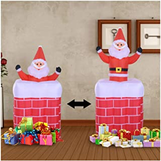 ESG Warehouse 6 Feet Inflatable Santa Claus Rising in Chimney Christmas Lighted Yard Decorations