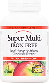 Natural Factors, Super Multi, Iron Free Daily Multivitamin and Mineral Support, 90 Tablets (90 Servings)