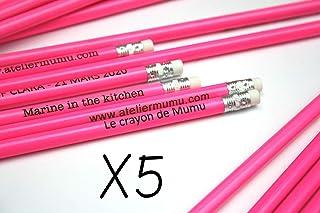 Matita con testo personalizzato, gruppo x5 matite, colore rosa e gomma bianca, regalo personalizzabile