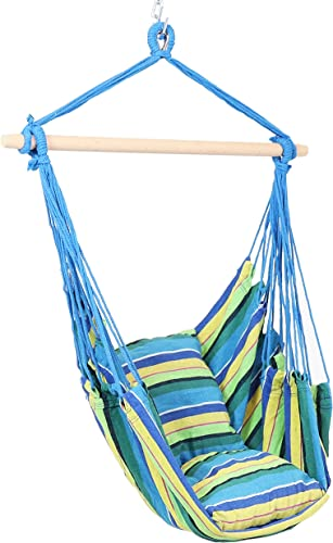high quality Sunnydaze new arrival Hanging Rope Hammock Chair Swing - Double Cushion Hanging Chair Seat for Backyard & Patio - 265 Pound Capacity - Ocean sale Breeze online sale