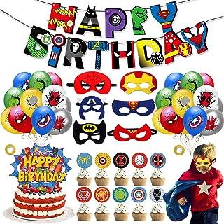 44 Pièces Décoration de fête d'anniversaire de Super-héros,Ballons de Superhero Anniversaire Décoration Kit,Ballon de Joye...
