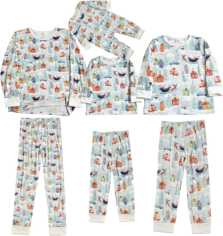 Christmas Pajamas for Family Long Sleeve Elk Print Crew Neck Jumpsuit Winter Shirt and Pants Sets 2 Piece Sleepwear