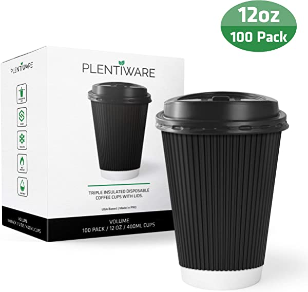 Coffee Cups With Lids Disposable Insulated To Go Paper Coffee Cups For Hot Beverages 12 Oz Perfect For Cafe And Bulk 100 Pack Black By Plentiware