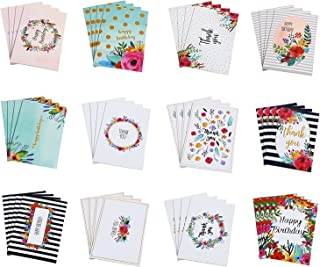 Birthday and Thank You Cards - 48-Pack Happy Birthday Greeting and Thank You Cards Bulk Box Set, 12 Unique Floral Designs, Envelopes Included, 4 x 6 Inches