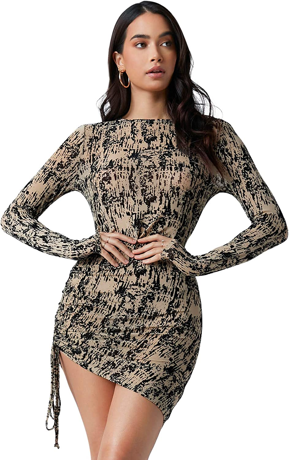 Romwe Women's Allover Print Long Sleeve Drawstring Ruched Side Party Short Bodycon Dress