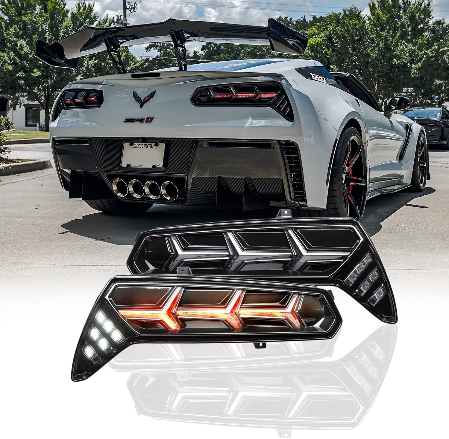 Morimoto XB LED Tail lights, Plug and Play Housing Upgrade, fits 2014-2019 Chevrolet Corvette C7, DOT Approved Assembly, LED Sequential Turn Signals, Brake, Reverse Lights, & Smoked Lens (1x LF464)