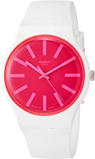 Swatch SUOW162 Silicone Pink Dial Round Analog Watch for Women - White