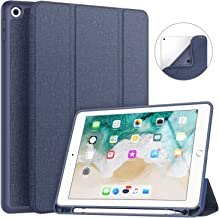 Soke New iPad 9.7 2018/2017 Case with Pencil Holder, Slim Fit iPad Case Trifold Stand with Shockproof Soft TPU Back Cover and Auto Sleep/Wake Function for iPad 9.7 inch 5th/6th Generation, Navy Blue