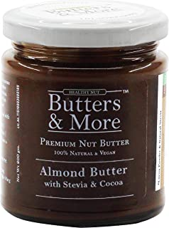 Butters & More Vegan Almond Butter with Dark Cocoa & Stevia (200G). Keto & Diabetic Friendly. Healthy Chocolate Spread.