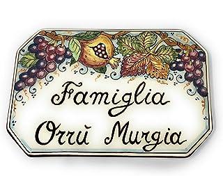 CERAMICHE D'ARTE PARRINI- Ceramica italiana artistica numero civico in ceramica 20x13 personalizzato decorazione frutta, m...