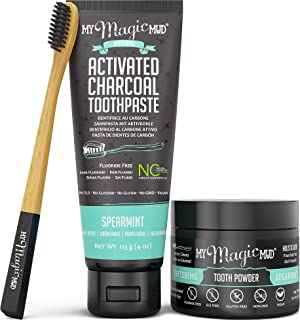 My Magic Mud - Activated Charcoal Teeth Whitening Kit, Toothpaste, Tooth Powder & Bamboo Toothbrush, Clinically Proven (Spearmint)