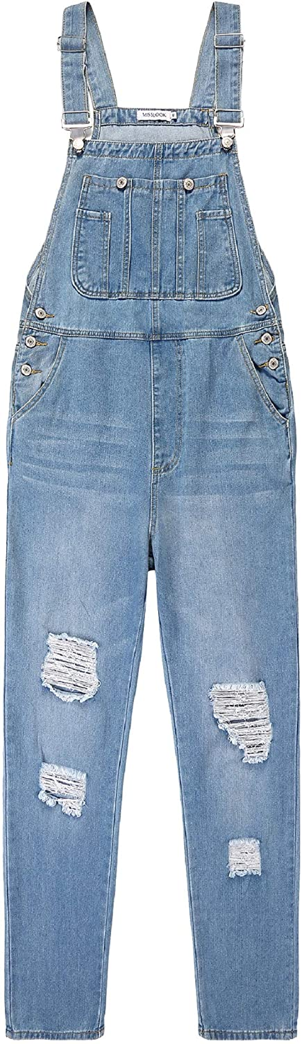 CHARTOU Womens Adjustable Straps Loose Distressed Bib Overall Ripped Denim Pants Jumpsuit