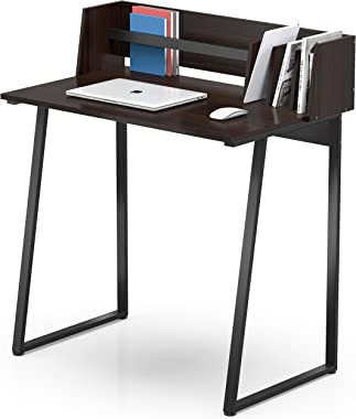 FITUEYES Computer Working Desk with Back Board, Writing Study Table for Home Office, Black Wood Grain CD108201WG-AU