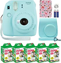 Sponsored Ad - Fujifilm Instax Mini 9 Instant Camera Ice Blue with Custom Case + Fuji Instax Film Value Pack (50 Sheets) F...