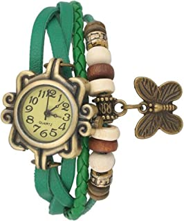 Snapcrowd Butterfly Dori Leather Strap Analogue Yellow Dial Women's Watch
