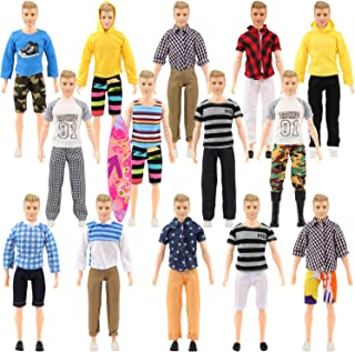 SOTOGO 27 Pieces Doll Clothes Set Include 12 Set Doll Casual/Career Wear Clothes Jacket Pants Outfits with Surfboard and 4 Pairs Shoes for Ken Dolls