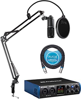 PreSonus Studio 24c USB-C Audio Interface Bundle with Audio Technica AT2020 Condenser Microphone, Blucoil Boom Arm Plus Pop Filter, and 10-FT Balanced XLR Cable