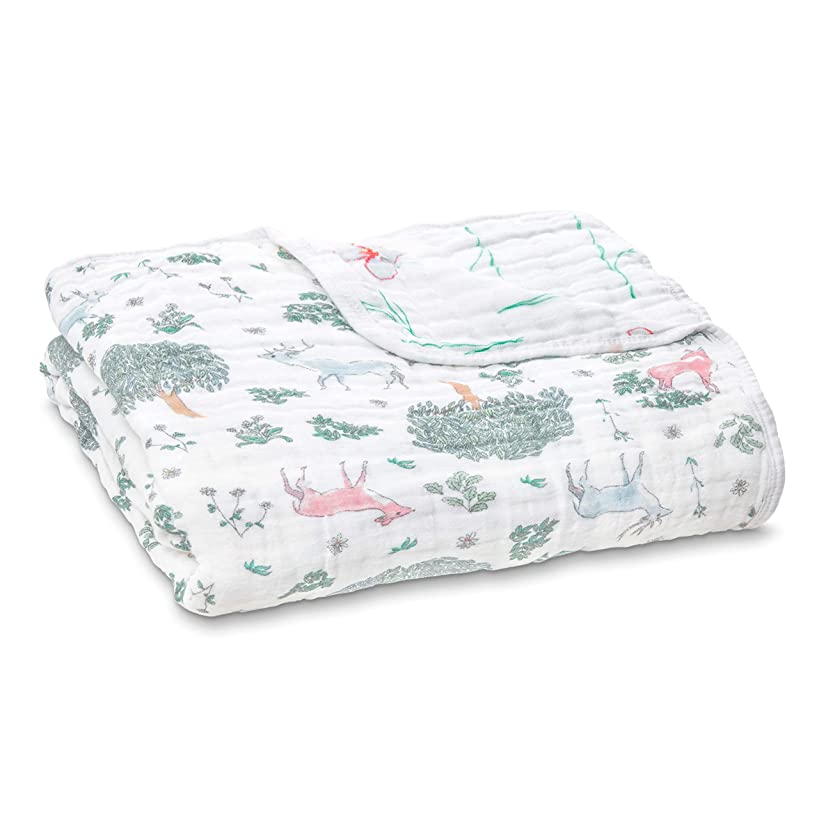 aden + anais Dream Blanket, 100% Cotton Muslin, 4 Layer lightweight and breathable, Large 47 X 47 inch, Forest Fantasy - Deer
