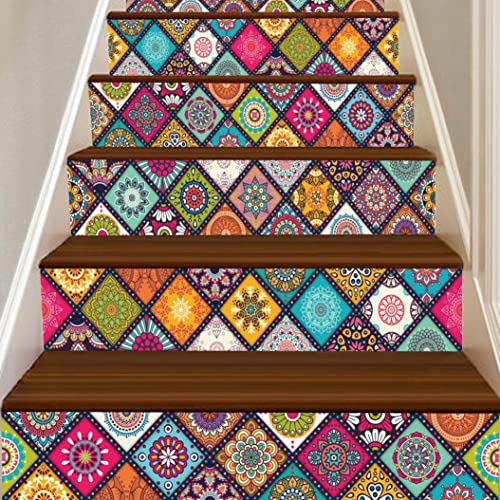 Quistal 6 Pcs Peel And Stick Tile Backsplash Stair Riser Decals DIY Mexican Traditional