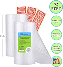 Air Bubble Cushioning Wrap Roll for Heavy-Duty Packing [12 Inch x 72 Feet Total, Perforated Every 12], 2 Pack 36 Each Roll. (30 Fragile Stickers Included)