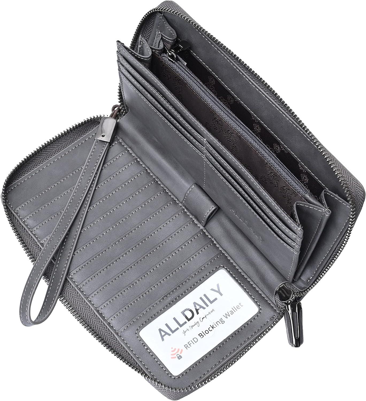 Women's RFID Blocking Leather Zip Around Wallet Large Phone Holder Clutch Travel Purse Wristlet (Grey)