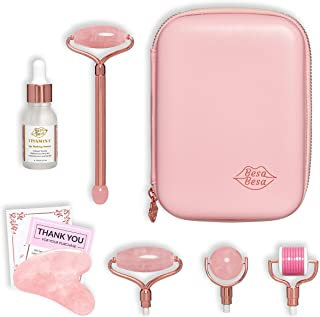 Beso Besa Face Roller Travel Tool Kit - Smooth and Ball Rose Quartz, Derma Roller, Gua Sha Stone, Vitamin C Serum - Neck Massager, Scraping Massage for Leg and Arm Muscle